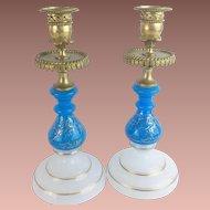 "Antique French Opaline Bronze Candlesticks   "" Beautiful Blue & White Opaline"""