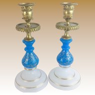 "Antique French Opaline Bronze Candlesticks   "" Beautiful Blue & White Opaline"""