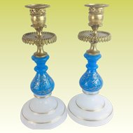 Grandest Antique French Opaline Bronze Candlesticks  ~ Beautiful Blue & White Opaline with The Prefect Touch of Gilding