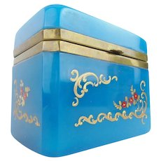 "Beautiful Antique French Opaline Casket Hinged Box ""FABULOUS  BLUE"""