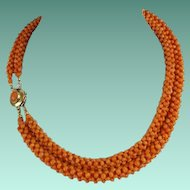 "Exquisite  14KARAT  Red Coral Necklace ""GORGEOUS"""
