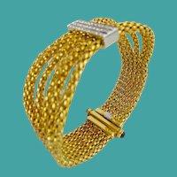 "7"" Italian 18kARAT Diamond Rope Mesh  Bracelet ""AWESOME Sapphire Clasp ~RARE BANGLE STYLE~"