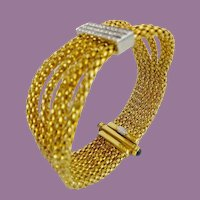 "7"" Italian 18kARAT Diamond Rope Mesh  Bracelet ""AWESOME Sapphire Clasp ~RARE BANGLE STYLE~"