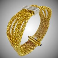 "7"" Italian 18kARAT Diamond Rope Mesh Bangle Style Bracelet ""Sapphire Clasp"""