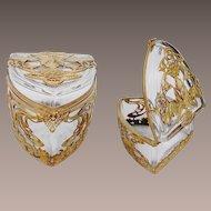 "Antique French Empire Casket Hinged Box ""RARE SHIELD SHAPE"""