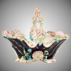 "10"" Antique English Coalbrookdale Porcelain Flower Basket"