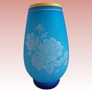 Antique French Blue Opaline Vase