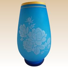 Antique French Blue Opaline Vase