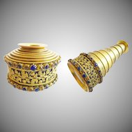 "Magnificent Antique Jeweled Monocular ""GILT FLORA w/ BLUE & GOLD GEMS"