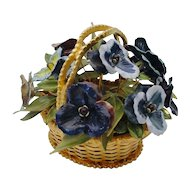 "Rare Jane Hutcheson ""Fleurs des Siecles"" Jeweled Pansy in a Woven Gilt Ormolu Basket"