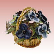 """Rare Jane Hutcheson """"Fleurs des Siecles"""" Jeweled Pansy in a Woven Gilt Ormolu Basket"""