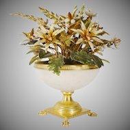 "Jane Hutcheson Jeweled Enamel Flowers ""White Opaline Paw Foot Vase"""