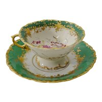Beautiful Samson Green Porcelain Cup and Saucer