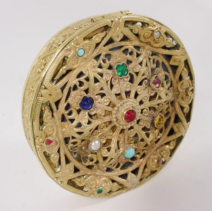 Beautiful Antique Austrian Jeweled Compact With Beveled