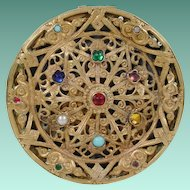 Beautiful  Antique Austrian Jeweled Compact with Beveled Mirror
