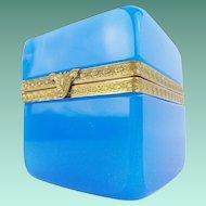 "Exquisite Antique French Opaline Casket Hinged Box ""Fancy Gilt Mounts & Clasp"""
