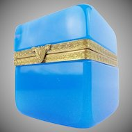 "Exquisite Antique French Opaline Casket Hinged Box ""Fancy Gilt Mounts & Clasp"""