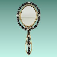 "Grandest Antique French Jeweled Hand Mirror ""JET & PASTE GEMS"""