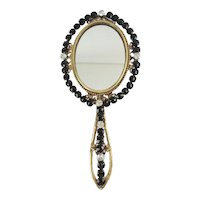 "Charming 19C French Jeweled Hand Mirror ""JET & PASTE GEMS"""