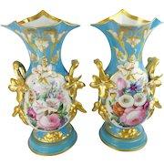 "14 ½""  Antique French Porcelain Vases…An Exquisite Old Paris Masterpiece Pair - CIRCA: Late 19th Century"