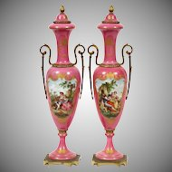 """Antique 17"""" French Hand painted Porcelain Double Handle Vases """"LUSCIOUS PINK """""""