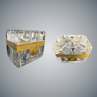 "Antique French Cut and Etched Casket Hinged Box ""EXQUISITE MOUNTS""  A Cut Crystal Masterpiece"
