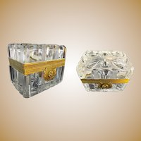 """Antique French Cut and Etched Casket Hinged Box """"EXQUISITE MOUNTS""""  A Cut Crystal Masterpiece"""