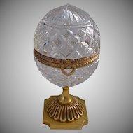 "Antique French Cut Crystal Casket Hinged Box""Ornate Bronze Pedestal """