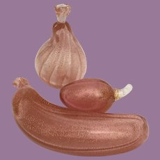 """Estate Vintage Murano """"PINK with Gold Flakes"""" Glass Fruit  ~  3 AWESOME PIECES ~ Banana, Pear, Plum"""