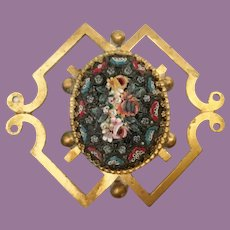 Charming Italian Micro Mosaic and Brass Plaque