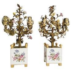 Antique Porcelain Flowers  Cachepot Lamps ~ A PAIR ~ Hand-painted  Porcelain Sevres Styles Lamps