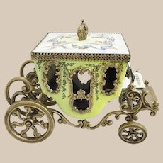 Antique Vienna Enamel Miniature Coach ~  Cherubs,  Flowers and Blue Ribbons
