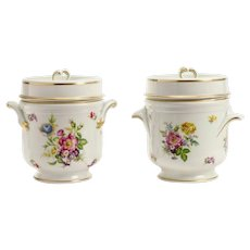 Pair French Limoges Fruit Coolers  Cachepots ~ Simply the Grandest Double Handles Cachepots w Gorgeous Flowers and Exquisite Gilding
