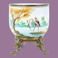 """Magnificent Antique Porcelain Cachepot Jardinière """" EGRET, DUCKS, TREES & POND """""""
