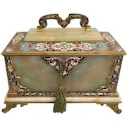 Antique French Bronze Champlevé Onyx Casket ~ Exquisite Colors  and Awesome Champlevé