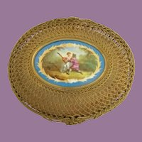 AMAZING Marchal Bruxelles Bronze Basket Casket w Pastoral Porcelain Plaque ~ The Basket is Made of Thick Heavy Bronze Ormolu.