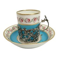 George Jones, Crescent China, England,  Demitasse Cups and Saucers. ~EXQUISTE Sterling Silver Filigree Holders