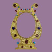"""Glorious  9 ½"""" Austrian  Jeweled Table Top Frame  ~ Good Heavy Easel Stand ~ Ready for Your Photo"""