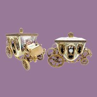Austria Vienna Enamel Miniature Coach ~ Extraordinary  Winged Cherub, Pastoral Couple, Lambs and Dog ~Crown Finial