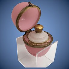 Giant Palais Royal Pink Opaline Egg Perfume Box ~ Luscious  Pink Opaline Egg wGilt Ormolu Mounts and S Clasp ~  A Giant Perfume  Flask Nestled Inside in Fancy  Gilt Ormolu