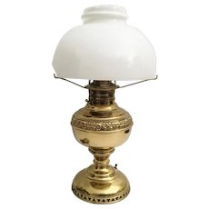 Antique JUNO E. Miller & Co. Oil Lamp with OPAL Shade  ~ The Oil Lamp is Electrified with Safe Wiring