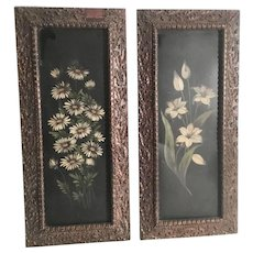 PAIR Antique Painted Tole Panels in Lovely Wood Gesso Frames ~ Flowers and Beautiful Frames