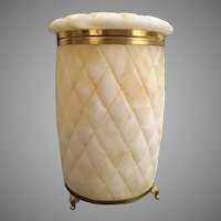 "Mid 20th Century Alabaster Footed Hinged Casket Box with a Deep Diamond Cut Pattern. Gilt brass Mounts and triple Footed Brass Base ~  4 ½"" D x 7"" H ~ Three Pounds and No Damage"