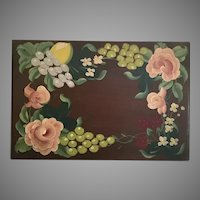 """Charming  16 ½"""" Hand painted Wood Box ~ Started life as a Silverware Box ~ Hand painted Lemons, Grapes, Strawberries and Flowers with Green Leaves ~ Lovely Footed Base."""