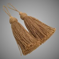 PAIR Vintage Giant Hemp Tassels with Big Carved Wood Ball ~  STUNNING