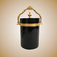 Exquisite Antique Black Opaline Covered Box ~ Beautiful Fancy Gilt Ormolu Mounts and Finial
