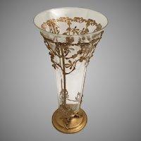 Vintage Estate Etched Crystal and Gilt Ormolu Vase  ~ Stunning Hammered Base w Gorgeous Gilt Leaves, Berries, and Vines ~ Lovely Etched Crystal Vase.