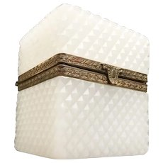 Antique French Diamond Cut White Opaline Hinged Box Casket ~ Fancy Gilt Mounts and Clasp~ VERY FINE Cut and Shape