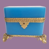 19C  French Double Handles Blue Opaline Casket Hinged Box ~ Beautiful Gilt Mounts and Footed Base