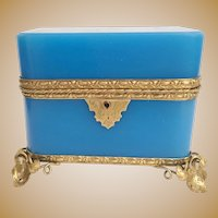Absolutely AWESOME 19C  French Double Handles Blue Opaline Casket Hinged Box ~ Beautiful Gilt Mounts and Footed Base ~ Amazing Rich Blue Opaline